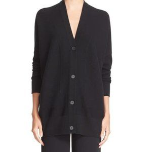 VINCE V-Neck Mesh Panel Wool & Silk Cardigan (XS)